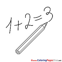 Addition Numbers Kids download Coloring Pages
