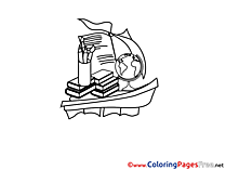Boat Classbooks School printable Coloring Pages for free