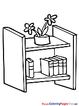 Bookshelf for free Coloring Pages download School