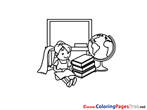 Classroom School Children download Colouring Page