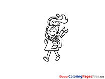 Girl School Kids download Coloring Pages
