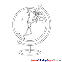 Globe School Colouring Page printable free
