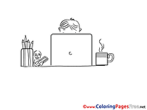 Laptop School download printable Coloring Pages