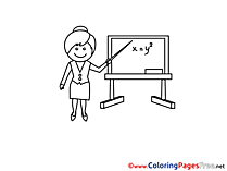 Math Teacher Children Coloring Pages free