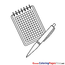 Pen Notepad Colouring Sheet download free