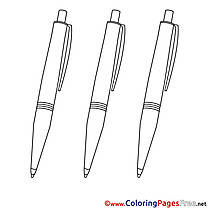 Pens for Children free Coloring Pages