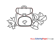 Schoolbag free printable Coloring Sheets