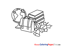 Schoolbag Globe Colouring Sheet download free