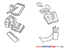 Supplies School for Kids printable Colouring Page