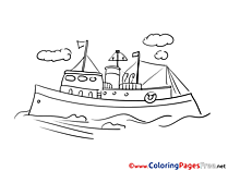 Motor Ship printable Coloring Sheets download