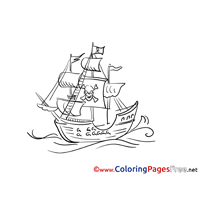 Pirate Ship for Children free Coloring Pages