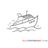 Yacht for free Coloring Pages download