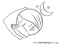 Sleeping Girl Smiles free Coloring Pages