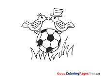 Birds Ball Kids Soccer Coloring Page