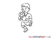 Boy Football for Kids Soccer Colouring Page