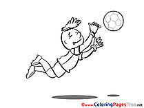 Catching Ball Soccer Colouring Sheet free
