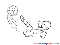 Children Player Kids Soccer Coloring Sheet