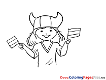 Fan Viking for Kids Soccer Colouring Page