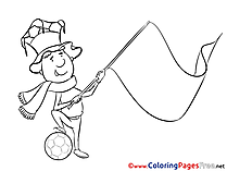 Fan with a Flag Colouring Page Soccer free