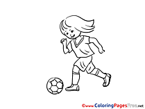 Girl Children Soccer Colouring Page