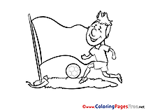 Grass Football Player free Colouring Page Soccer