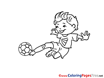 Kick Boy Children Soccer Colouring Page