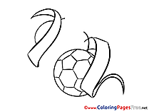 Ribbons Ball free Colouring Page Soccer
