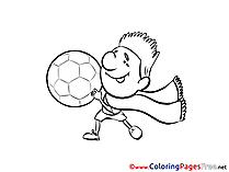 Scarf Football Player Colouring Sheet download Soccer