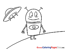 Alien printable Coloring Sheets download
