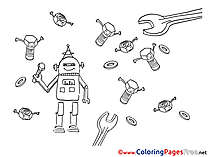 Robot free Colouring Page download