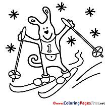 Animal Ski Kids download Coloring Pages