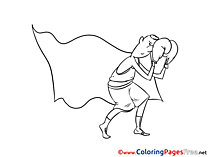 Boxing Colouring Page printable free