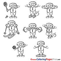 Boy download Colouring Sheet Sport free