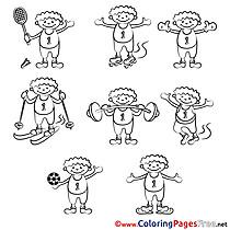 Boy download Colouring Sheet Sport free