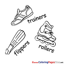 Flippers Trainers Kids free Coloring Page