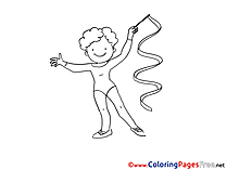 Gymnastics for Kids printable Colouring Page