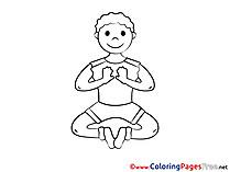 Meditation Kids download Coloring Pages