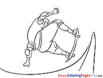 Skate Children download Colouring Page