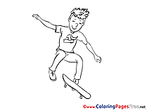 Skateboard Colouring Page printable free
