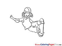 Skateboard Kids free Coloring Page