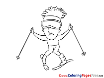 Ski download Colouring Sheet free