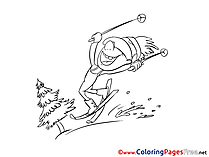 Ski for Kids printable Colouring Page
