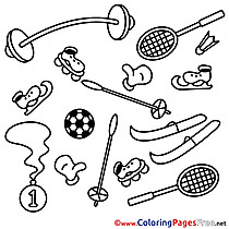 Sport Equipment Children download Colouring Page