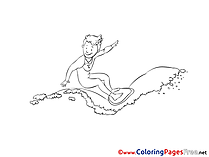 Surfer Children Coloring Pages free