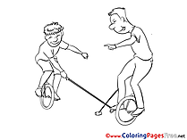 Unicycle Kids download Coloring Pages