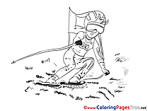 Winter Sport for Children free Coloring Pages Ski