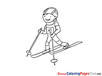 Winter Sport Ski Children download Colouring Page