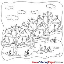 Trees download Spring Coloring Pages
