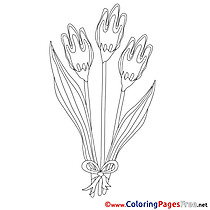 Tulips Kids Spring Coloring Page