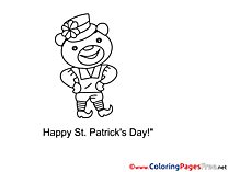 Bear free Colouring Page St. Patricks Day